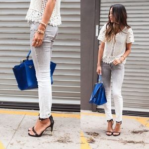 Vince White/Grey Ombré Skinny Ankle Jeans